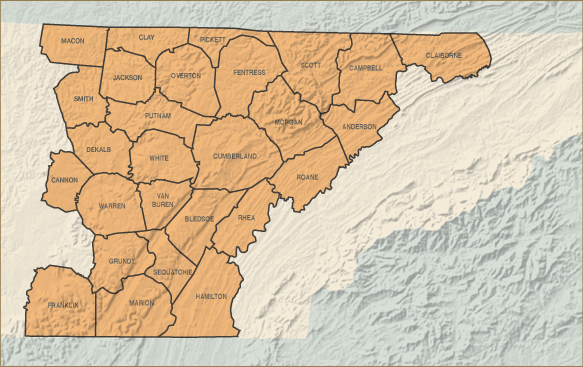 Cumberland Plateau county map